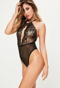 Black High Neck Fine Lace Teddy