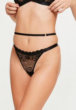 Black Lace Trim G-String