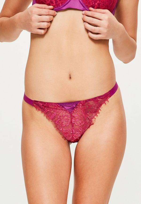 Purple Contrasting Lace Thong
