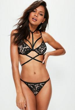 Black Lace Harness Triangle Bra