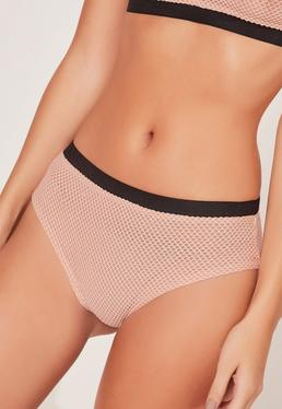 Nude Contrasting Fishnet Sporty Hem Panties