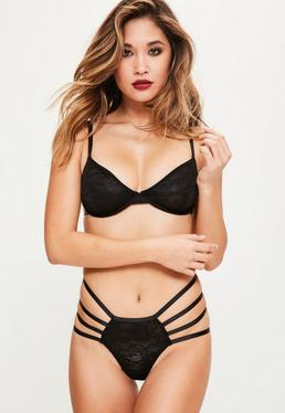 Black Lace Cage Detail Underwired Bra