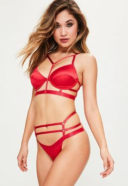 Red Satin Harness Strap Underwired Bra