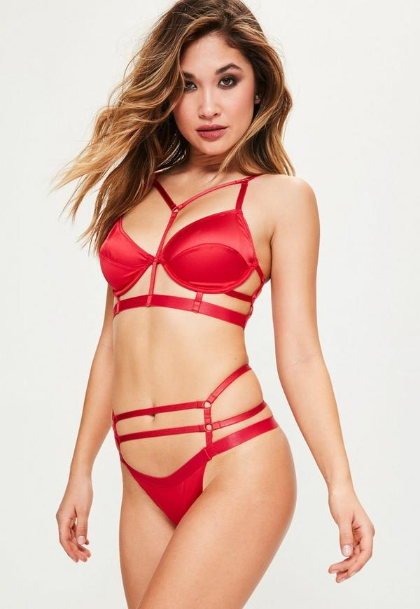 Red Satin Harness Strap Underwired Bra