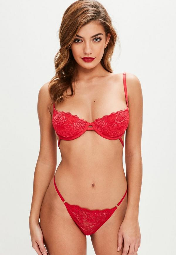 Red Scallop Lace Underwire Bra