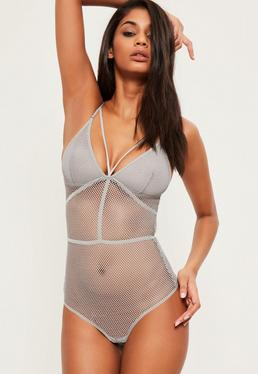 Grey Fishnet Harness Detail Bodysuit