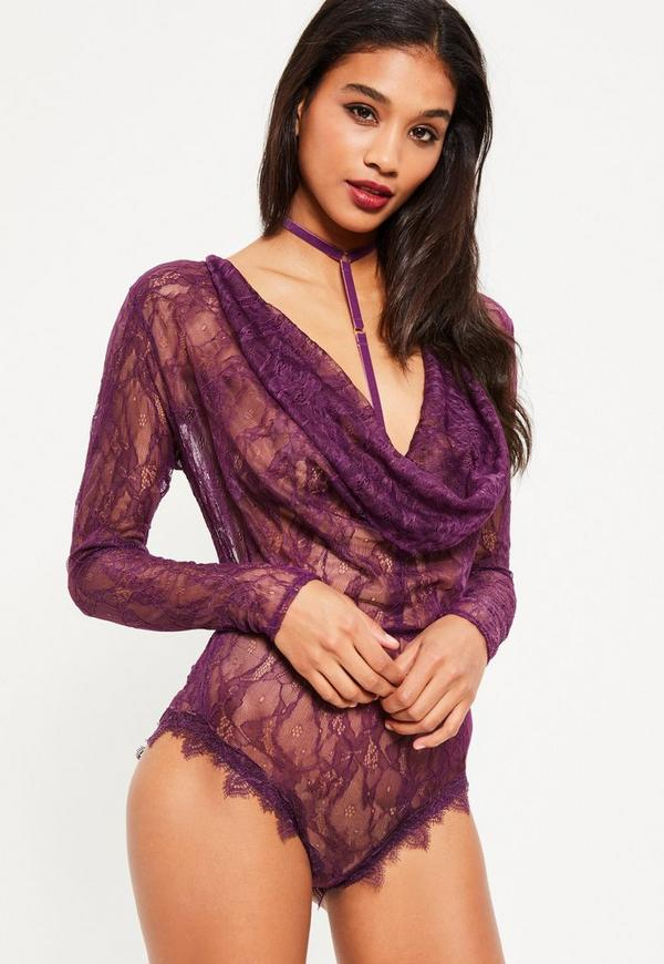 Purple Lace Cowl Neck Choker Detail Bodysuit