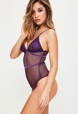 Purple Fishnet Harness Detail Bodysuit