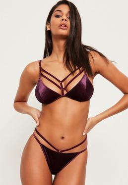 Purple Velvet Harness Detail Triangle Bra
