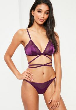 Purple Mesh Insert Lace Up Satin Triangle Bra