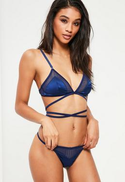 Navy Mesh Insert Lace Up Satin Triangle Bra