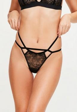 Black Velvet Detail Lace Thong