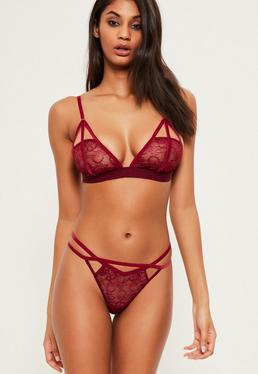 Burgundy Velvet Detail Triangle Bra
