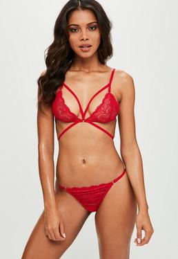 Red Strappy Lace Triangle Bra