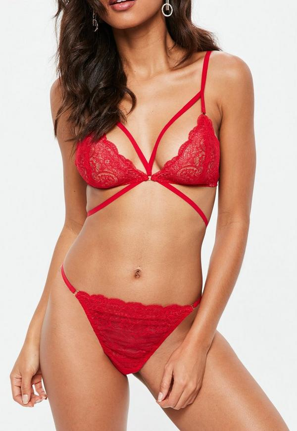 Red Ring Detail Lace Thong