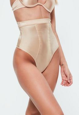 Culotte taille haute sculptante nude brillante