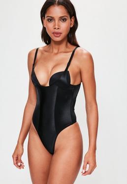 Black Shiny High Control Bodysuit