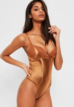 Tan Shiny High Control Bodysuit