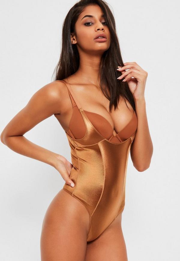 Tan Shiny High Control Bodysuit