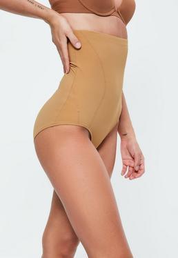 Culotte gainante taille haute marron