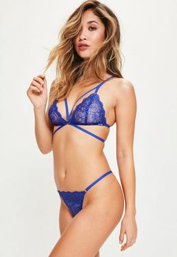 Blue Strappy Lace Triangle Bra