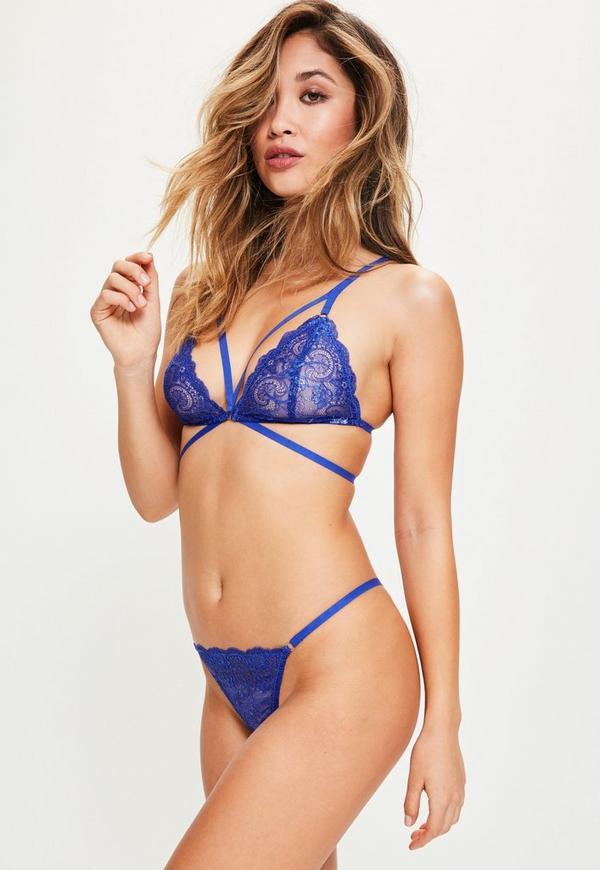 Blue Strappy Lace Triangle Bra