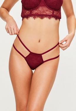 Burgundy Strap Detail Lace G-String