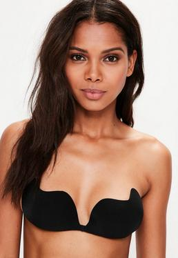 Black Strapless Magic Push Up Bra