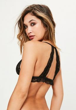 Black Frill Hem Lace Triangle Bra