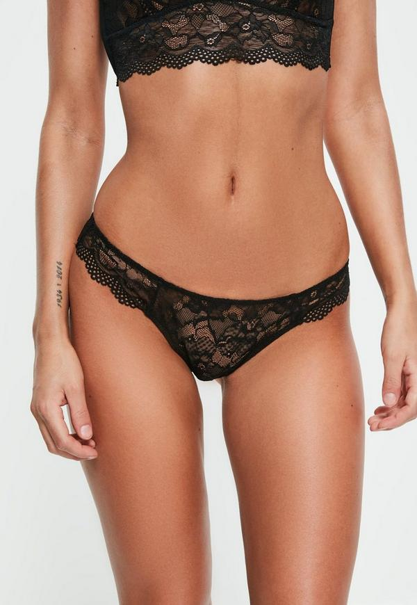 Black Lace Detail Thong