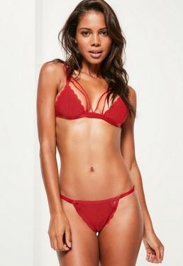Red Double Strap Scallop Lace Triangle Bra