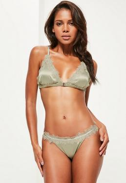 Green Satin Eyelash Lace Triangle Bra