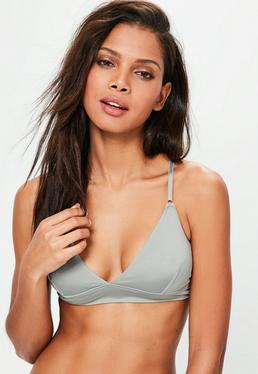 Grey Microfibre Strappy Back Triangle Bra