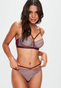 Burgundy Underwired Fishnet Detail Balconette bra