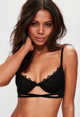 Black Underwire Velvet Cross Detail Bra
