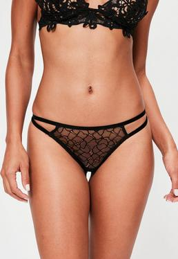 Black Velvet Detail Strappy Thong