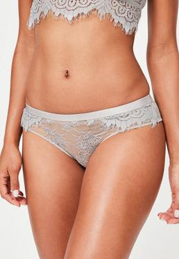 Grey Lace Briefs
