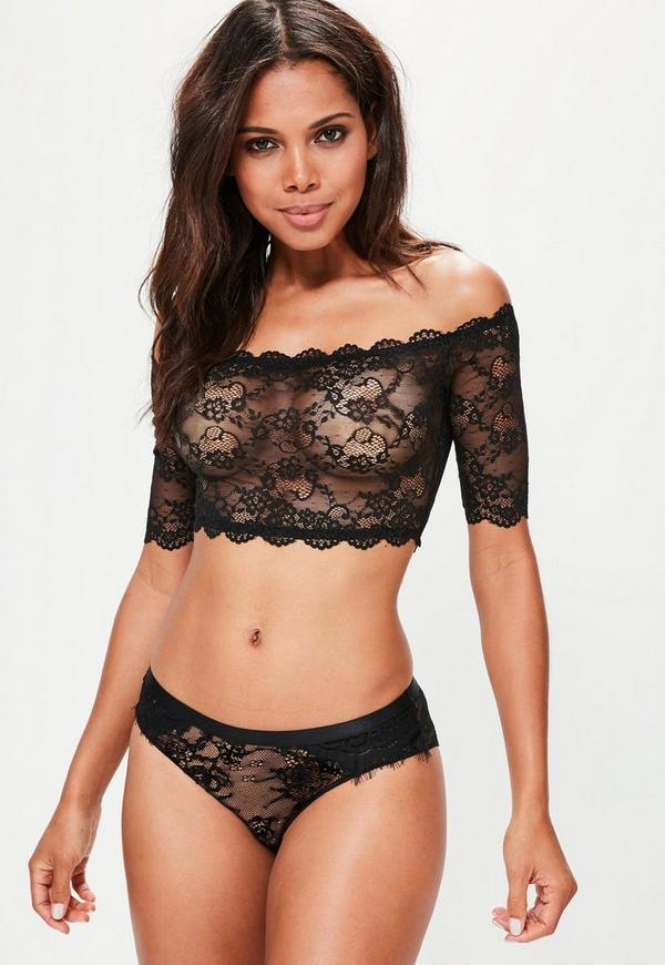 Black Bardot Lace Soft Bra
