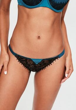 Blue Lace and Mesh Thong