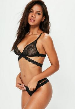 Black Lace Cross Triangle Bra