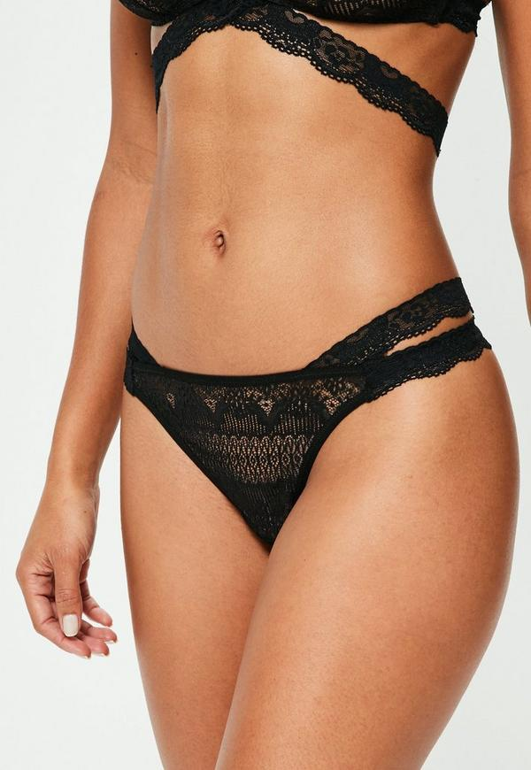 Black Cross Waist Lace Thong