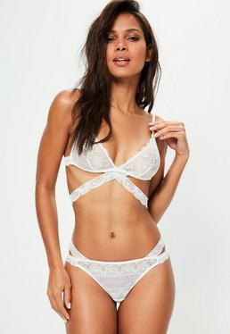 White Lace Cross Triangle Bra