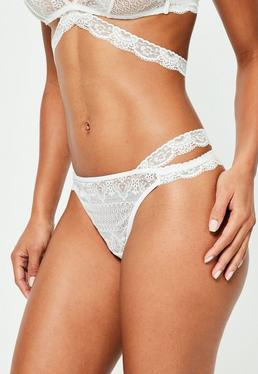 White Cross Waist Lace G-String