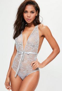 Grey Skinny Strap Lace Body