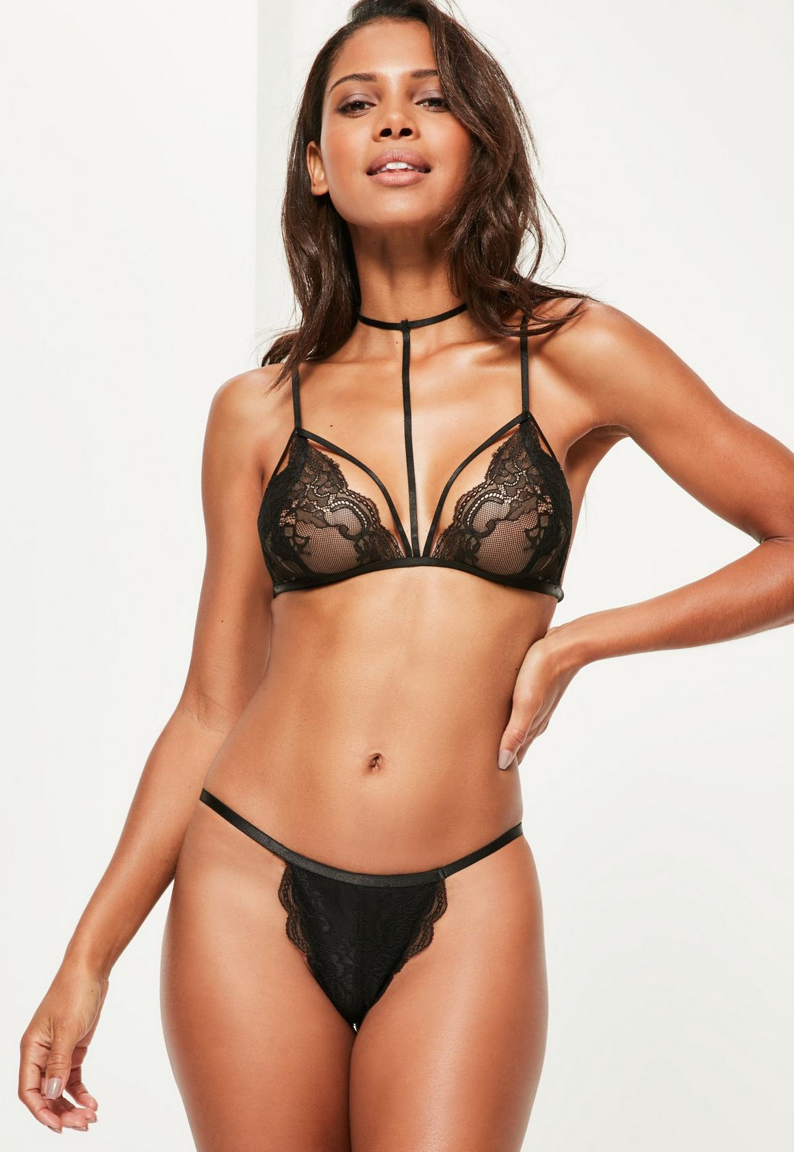 Black Harness Lace Triangle Bra | Missguided