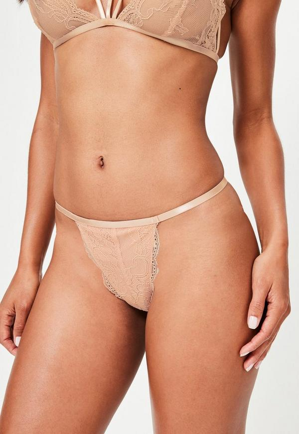 Nude Lace Cut Out Thongs