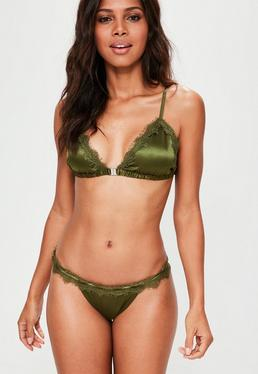 Khaki Eyelash Lace Satin Soft Bra