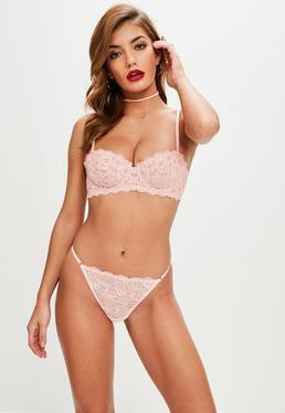 Pink Underwired Scallop Lace Bra