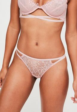 Pink Lace Strappy Knickers