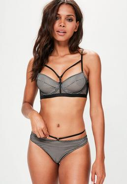Black Underwired Fishnet Balconette Bra